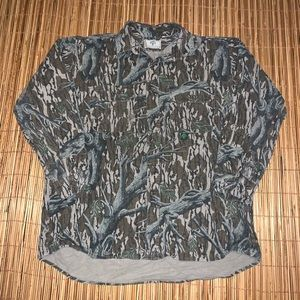 Vintage Mossy Oak Camo Button Up Hunting Shirt